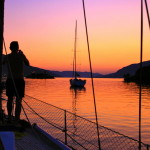 Stunning sunset of the sea in kotor bay