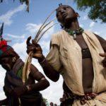 Ethiopian women preforming a tribal ritual