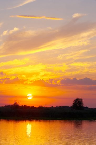 Sunset over the Danube Delta in Romania