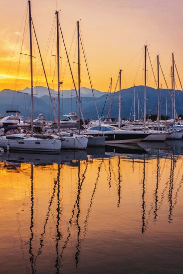 Sunset at Tivat Harbour Montenegro