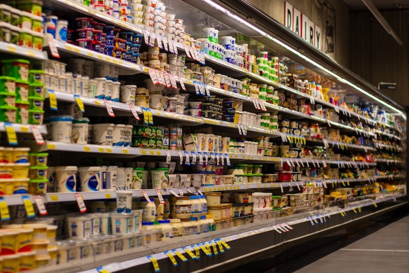 yoghurt aisle in a supermarket