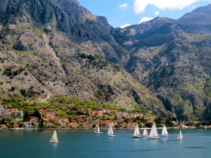 Boats on bay of Kotor