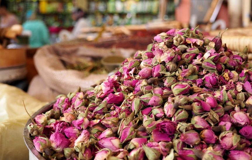 Dried roses in a market in Morocco