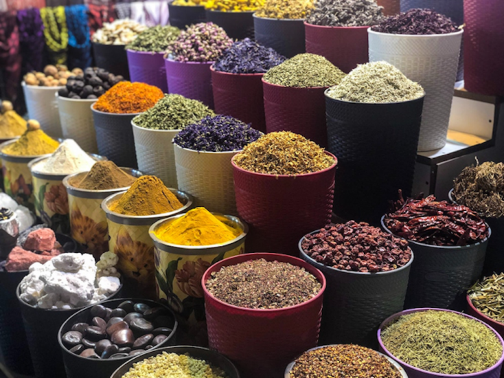 A market stall in Morocco with a variety of spices