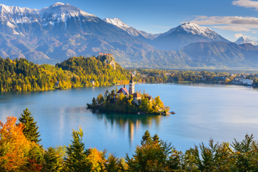 Bled lake with church in summer