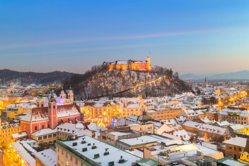 City of Ljubljana in Winter
