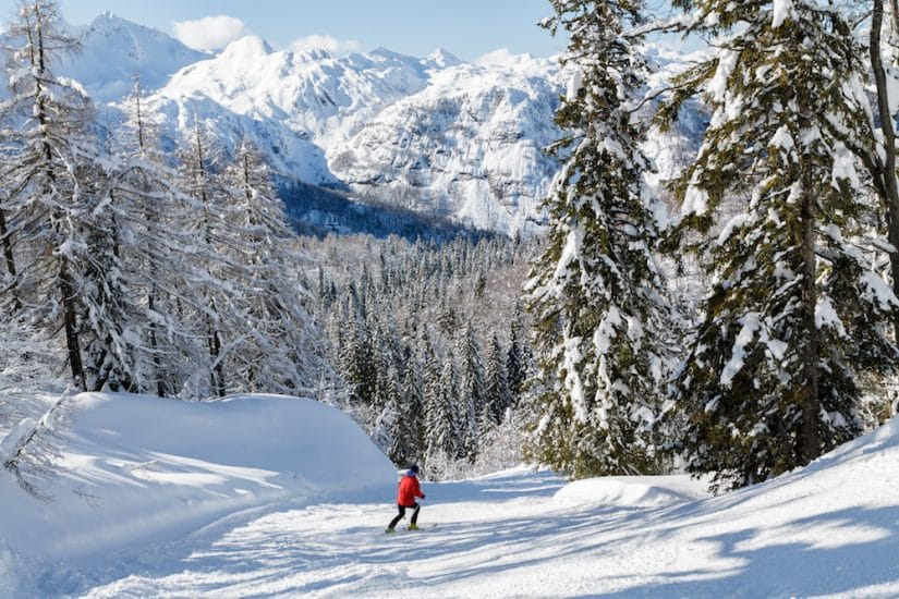 Skiing in mountains in Slovenia