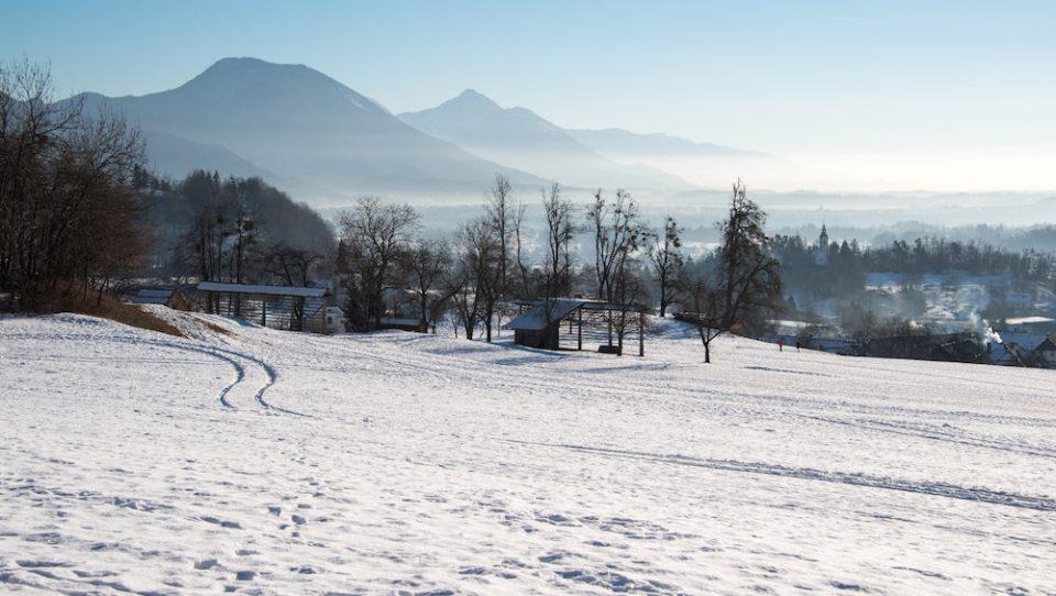Snowy mountains in slovenia
