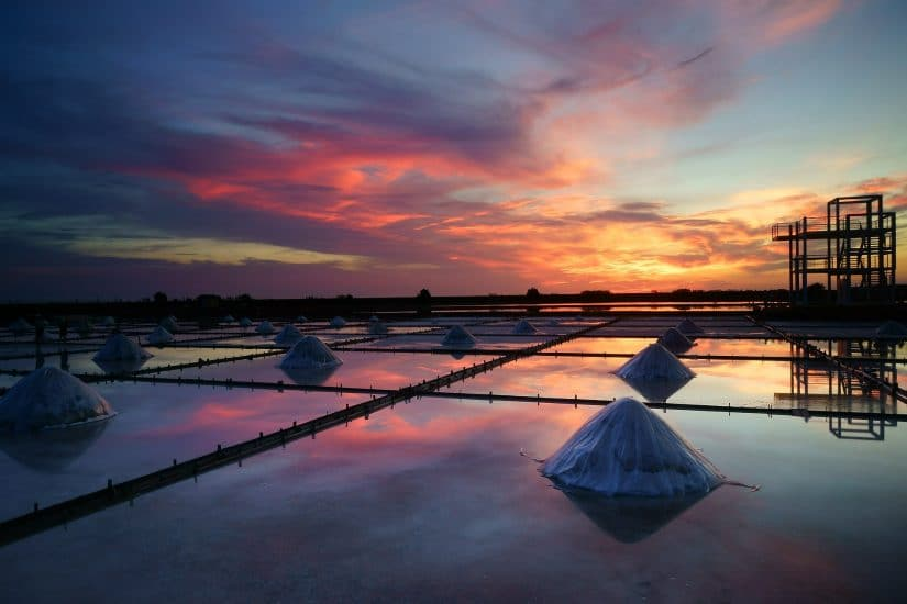 Salt pans in Slovenia at dawn