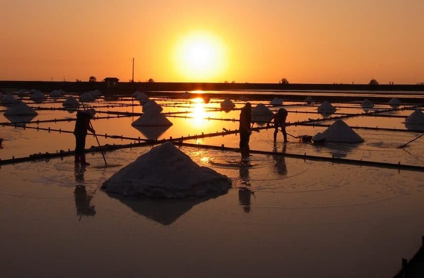 Salt pans with workers at sunset