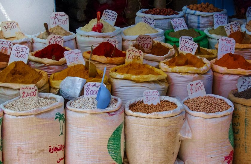 Selection of Moroccan spices for sale