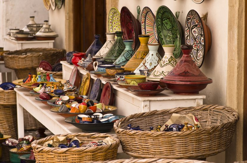 Selection of Moroccan tagines for sale