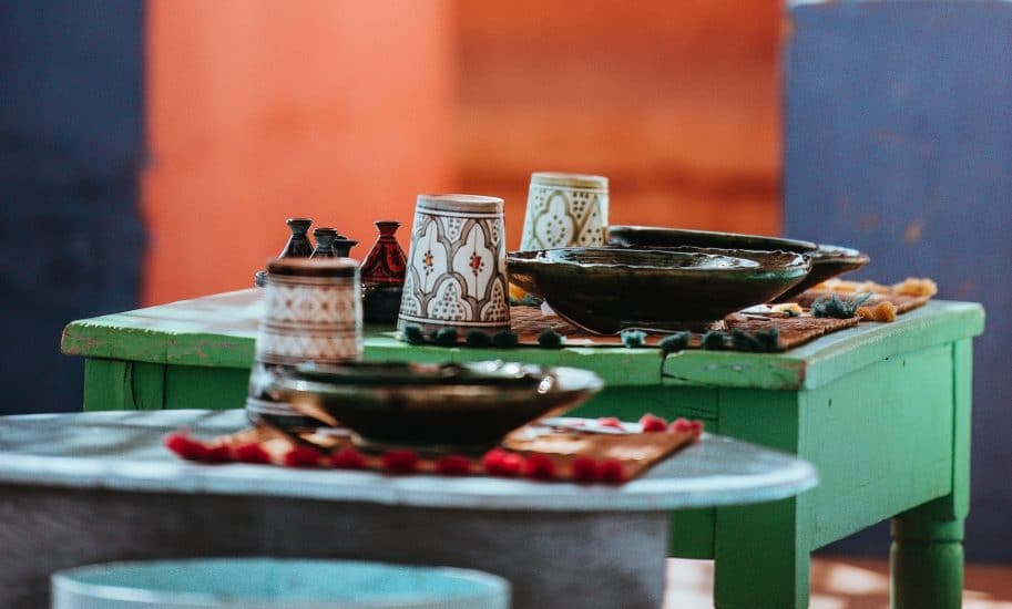 Table with plates and cups in morocco